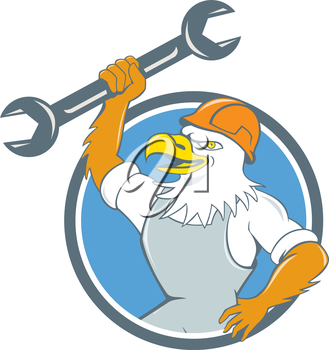 Illustration of a american bald eagle mechanic wearing hard hat smiling holding spanner viewed from side set inside circle done in cartoon style.