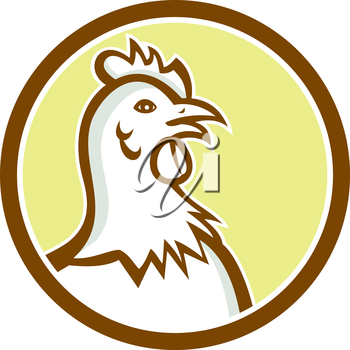 Illustration of a chicken hen head viewed from side set inside circle on isolated background done in cartoon style.