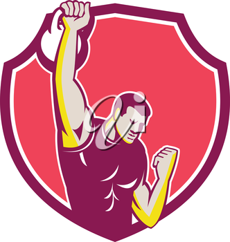 Illustration of an athlete performing a kettlebell one-arm high pull facing front set inside crest done in retro style.