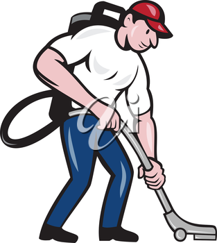 Illustration of a male commercial cleaner janitor worker with vacuum cleaner cleaning vacuuming looking down viewed from side on isolated background done in cartoon style.