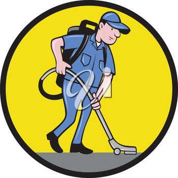 Illustration of a male commercial cleaner janitor worker with vacuum cleaner cleaning vacuuming looking down viewed from side set inside circle on isolated background done in cartoon style.