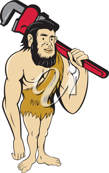 Illustration of a neanderthal man or caveman plumber holding monkey wrench on shoulder set on isolated white background done in cartoon style.