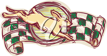 Drawing sketch style illustration of a rabbit jumping viewed from the side with racing flag in the background on isolated white background.