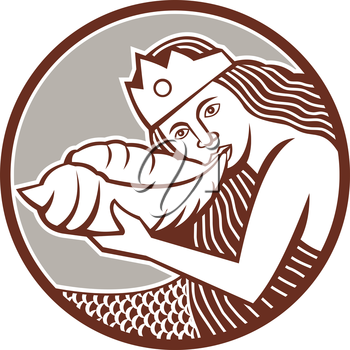Illustration of a mermaid wearing crown blowing a shell horn set inside circle done in retro style on isolated backgound.