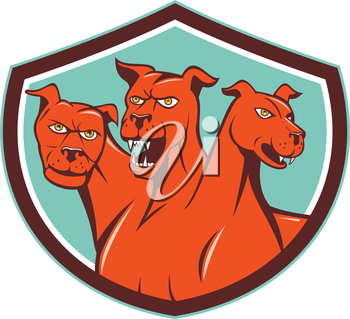 Illustration of cerberus, in Greek and Roman mythology, a multi-headed usually three-headed dog, or hellhound with a serpent's tail, a mane of snakes lion's claws set inside shield crest on isolated b