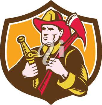 Illustration of a fireman fire fighter emergency worker looking to the side holding fire hose and fire axe set inside shield crest done in retro woodcut style.