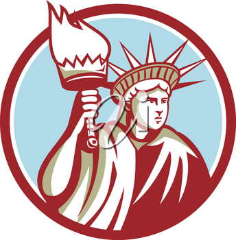 Illustration of statue of liberty holding up a flaming torch and shield on isolated background done in retro style.