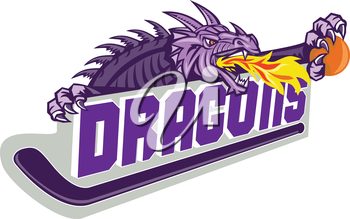 Illustration of a purple dragon head breathing fire clutching basketball on hockey stick and banner with the word Dragons on isolated white background done in retro style.