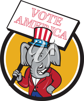 Illustration of an American Republican GOP elephant mascot wearing suit and stars and stripes hat holding placard sign with the words Vote America set inside circle done in cartoon style.