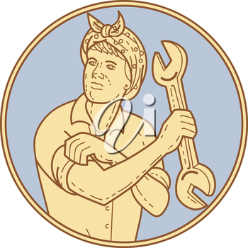 Mono line style illustration of a female riveter rolling sleeve holding spanner looking to the side set viewed from front inside circle on isolated background.
