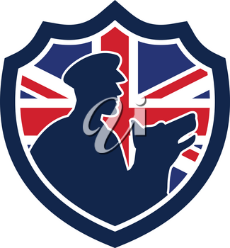Icon retro style illustration of a British police canine team showing a policeman and police dog silhouette with United Kingdom UK, Great Britain Union Jack flag set inside circle isolated background.