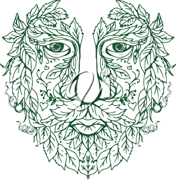 Illustration of a Green Man Head  viewed from Front done in hand drawing sketch style Mandala.