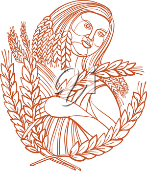 Mono line illustration of female farmer or Demeter, the goddess of the harvest and presides over grains and the fertility of the earth, holding stalk of cereal wheat done in monoline style.