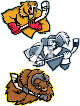 Mascot icon illustration set of ice hockey sporting mascots like the saber toothed tiger or sabre-toothed cat, musketeer or cavalier, musk ox or muskox holding an ice hockey stick  on isolated background in retro style.