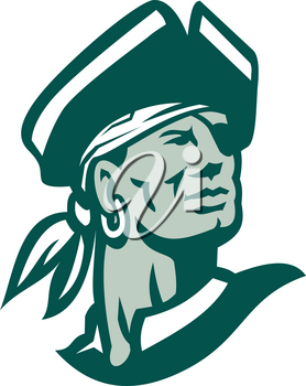 Icon style illustration of a Captain Buccaneer pirate Looking Up on isolated background.