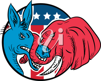Drawing sketch style illustration of a Republican donkey biting a Democrat elephant fighting with USA American stars and stripes flag set inside circle on isolated white background.