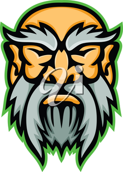 Mascot icon illustration of head of Cronus or Kronos, a son of Uranus and Ge, and the youngest among the Titans and Greek mythology god viewed from front on isolated background in retro style.