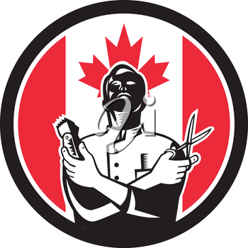 Icon retro style illustration of a Canadian barber with scissors and hair trimmer with Canada maple leaf flag set inside circle on isolated background.