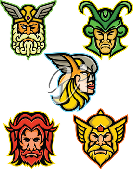 Mascot icon illustration set of heads of Norse gods such as Odin, Wodan, Woden or Wotangod, Loki, valkyrie warrior, Baldr, Balder or Baldur and Thor   on isolated background in retro style.