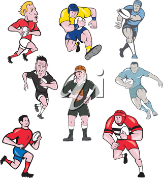 Set or collection of cartoon character mascot style illustration of rugby union or rugby league player running, passing pigskin ball on isolated white background.