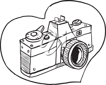 Drawing sketch style illustration of a vintage 35mm slr camera set inside heart shape on isolated background.