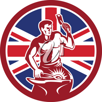 Icon retro style illustration of a British blacksmith or farrier holding hammer and anvil with United Kingdom UK, Great Britain Union Jack flag set inside circle on isolated background.