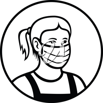 Black and white retro style illustration of an American Caucasian teenage child or teenager boy wearing a face mask viewed from front set inside circle isolated background.