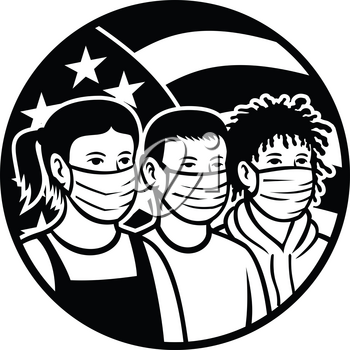 Black and white retro style illustration of American children of different race or ethnicity wearing face mask with USA stars and stripes flag set inside circle on isolated white background.