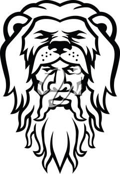Black and white mascot illustration of head of Hercules or Heracles, a Roman hero and mythology god, son of Jupiter wearing a lion skin pelt viewed from front on isolated background in retro style.