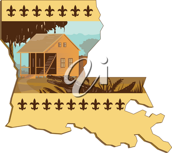 Retro wpa style illustration of a Cajun house and alligator or gator in foreground set inside outline of Louisiana state map of United States of America, USA with fleur-de-lis on isolated background.