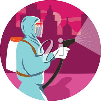 Illustration of an industrial worker, healthcare, essential or pest exterminator wearing a respiratory protective equipment, fumigating spraying disinfectant in city urban area in retro style.