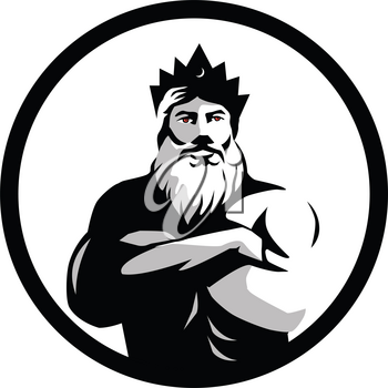 Retro style illustration of a bearded male man wearing a crown with red eyes and folded arms viewed from front set inside circle in black and white on isolated background.