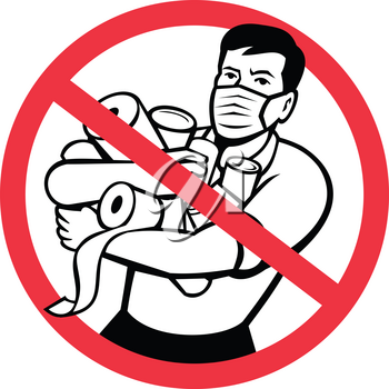 Icon retro style illustration of sign or symbol of stop panic buying showing a male shopper buying toilet paper and canned goods during lockdown on isolated background.