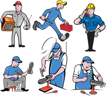 Set or collection of cartoon character mascot style illustration of a tv repairman, handyman, telephone or cable guy and a shoe repairman on isolated white background.