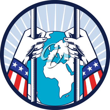 Retro woodcut style illustration of concept of United States of America in total lockdown and isolated from the world showing hands holding prison bars with globe outside set in circle.