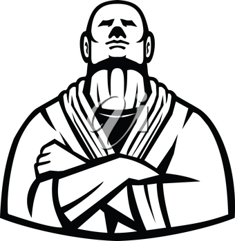 Mascot icon illustration of a Brazilian Jiu Jitsu or Gracie Jujutsu master with arms folded viewed from font  on isolated background in Black and White retro style.