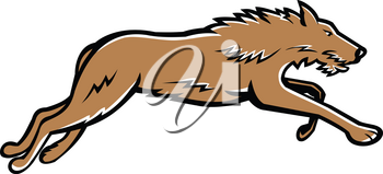Sports mascot icon illustration of Scottish Deerhound or the Deerhound, a large breed of hound bred for hunting red deer running on isolated background in retro style.