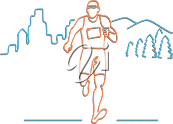 Retro style illustration showing a 1990s neon sign light signage lighting of a male marathon runner running with buildings and mountains in background on isolated background.