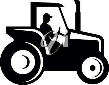 Illustration of a Silhouette of a vintage farm tractor set on isolated white background viewed from the side done in retro woodcut Black and White style.