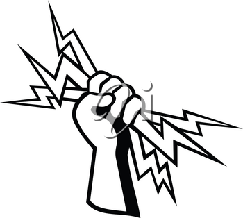 Retro style illustration of a hand of a power lineman, electrical worker or electrician holding a lightning bolt viewed from side on isolated background done in black and white.