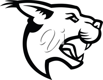 Black and white mascot illustration of head of caracal, a medium-sized wild cat native to Africa with short face, long tufted ears, and long canine teeth viewed from side on isolated background in retro style.