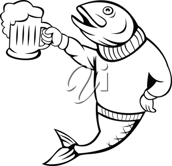 Cartoon style illustration of a trout or salmon fish holding up beer mug of ale wearing sweater or jersey on isolated white background.