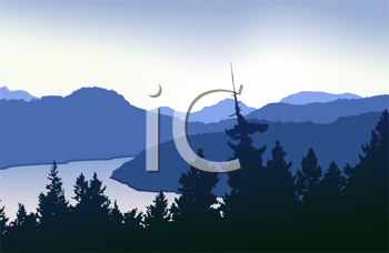 Royalty Free Clipart Image of a Mountain and Lake Scene
