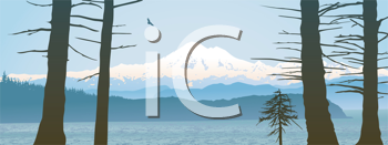 Royalty Free Clipart Image of a Mountain and Ocean View Through Trees
