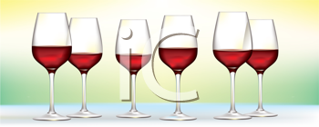 Royalty Free Clipart Image of Red Wine Glasses