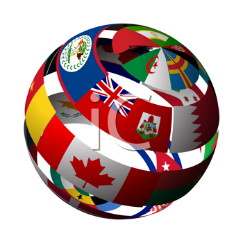 Royalty Free Clipart Image of a Globe With Stripes of World Flags