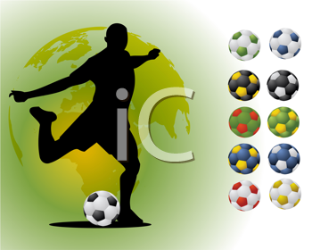 Royalty Free Clipart Image of a Soccer Player in Silhouette