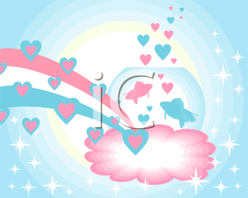 Royalty Free Clipart Image of a Hearts and Fish on a Blue Sparkly Background