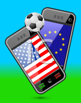 Royalty Free Clipart Image of Mobile Phones With a Soccer Ball