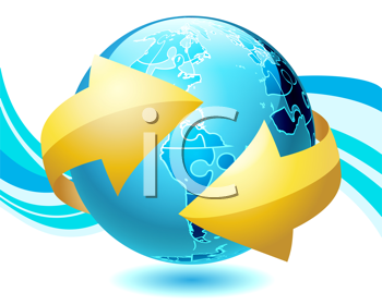 Royalty Free Clipart Image of a Shiny Globe With Arrows